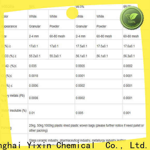 Yixin boric acid antifungal factory for glass industry
